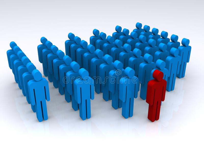 Leadership. A three-dimensional illustration of rank and file people in blue colors with one person at the front in red. Theme: Leadership, organization stock illustration