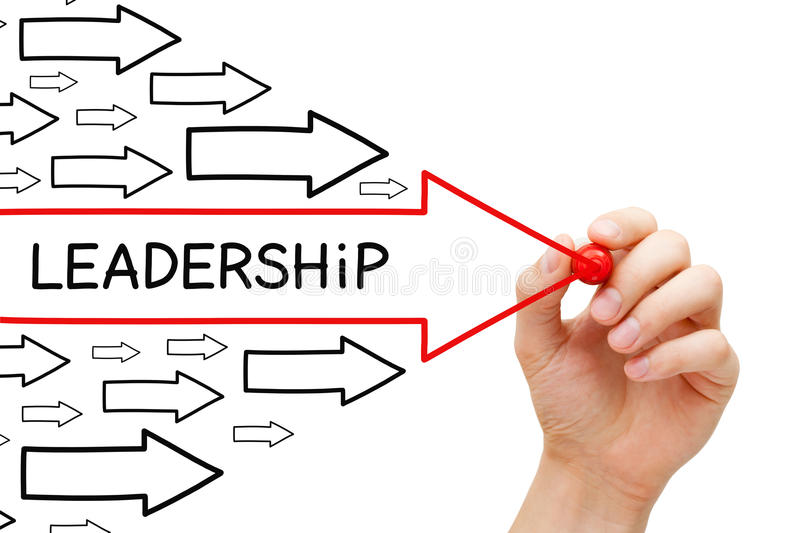 Leadership Arrows Concept. Hand drawing Leadership arrows concept with marker on transparent wipe board stock images