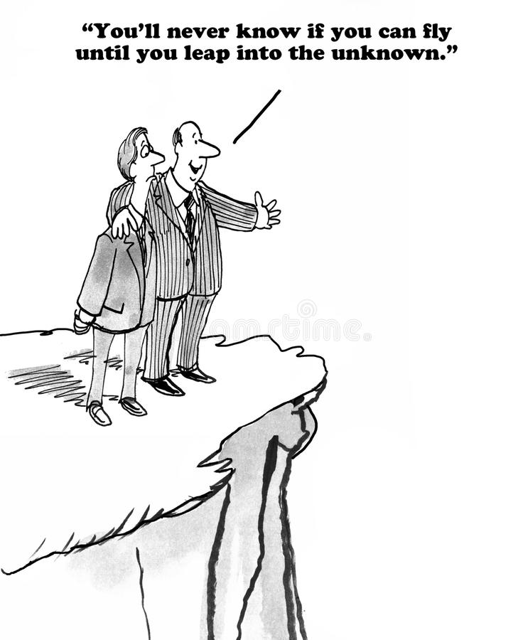 Leadership. Business cartoon about effort and leadership royalty free illustration