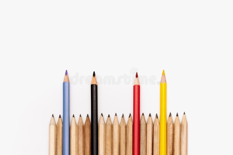 Leadership business concept. color pencil on white background royalty free stock photos