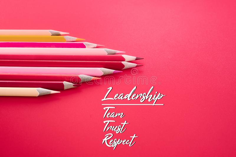 Leadership business concept. red color pencil lead other color with word Leadership, team, trust and respect on pink background royalty free stock photo