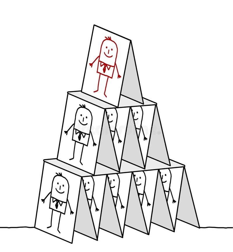 Leadership & cards pyramid. Hand drawn cartoon characters - leadership & cards pyramid stock illustration