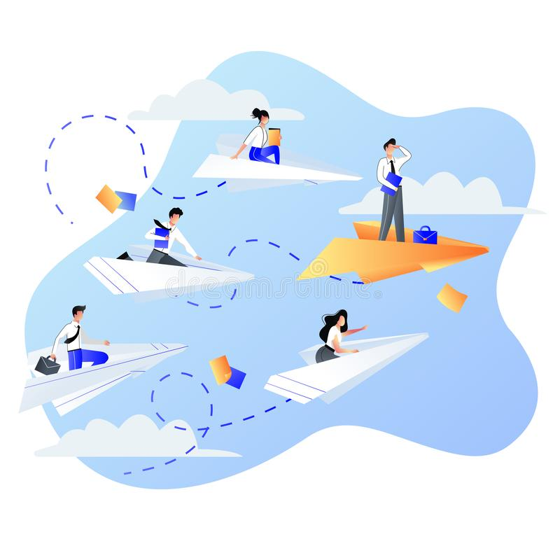 Leadership, career and success business concept. Businessmen people flying on paper airplanes. Vector flat illustration vector illustration