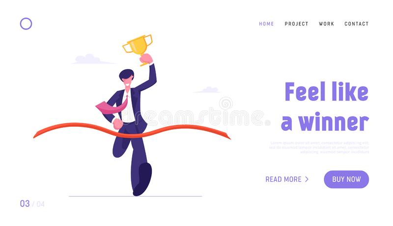 Leadership and Competition Website Landing Page. Business Man Holding Golden Goblet Take Part in Race Run to Success. Crossing Finish Line with Ribbon Web Page stock illustration