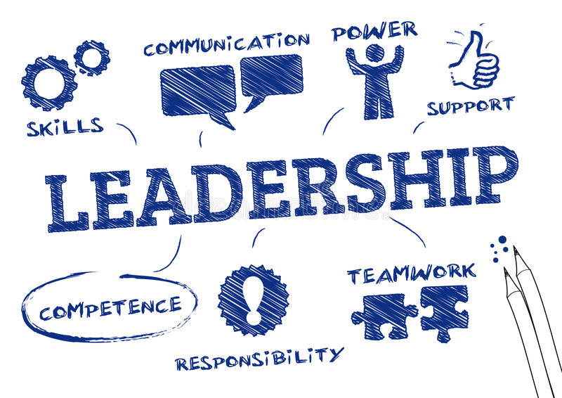Leadership concept. Chart with icons and Keywords vector illustration