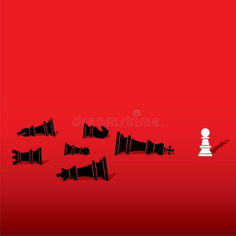 Leadership concept design. Chess pawn defeat opposite team member and feel like king concept design stock illustration