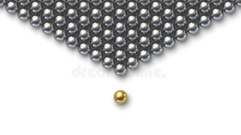 Leadership concept. Gold leader ball standing out from the crowd of silver balls stock illustration