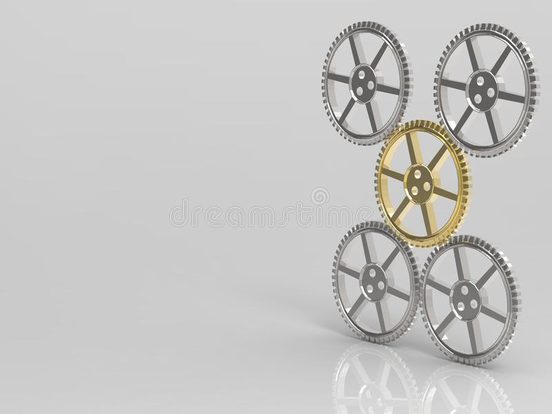 Leadership concept with golden gear royalty free illustration