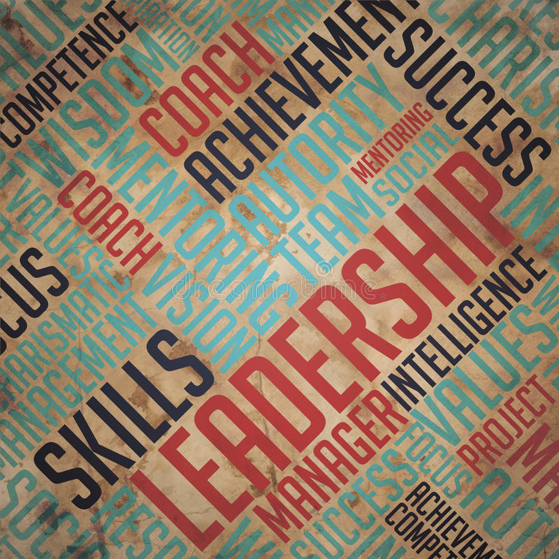 Leadership Concept - Grunge Wordcloud Background. Leadership - Grunge Wordcloud Background on Old Paper stock images
