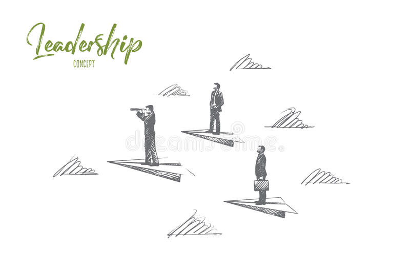 Leadership concept. Hand drawn isolated vector. Leadership concept. Hand drawn success people, leaders, who know the strategy. Manager, team lead isolated royalty free illustration