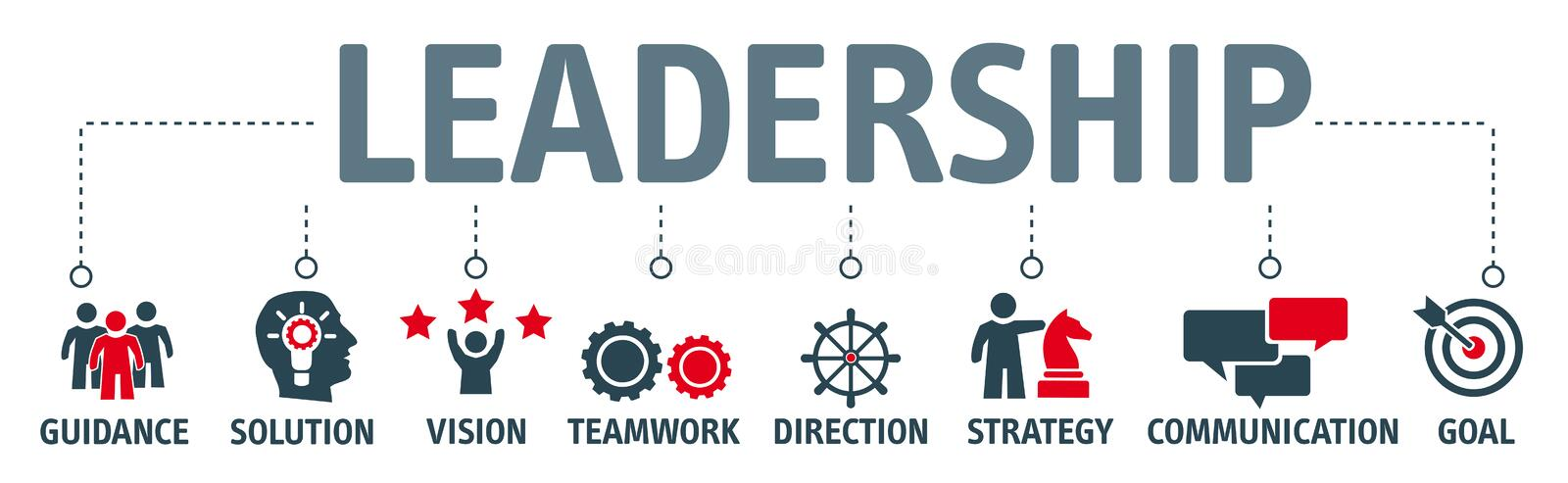 Banner leadership concept. Leadership concept illustration with icons royalty free illustration