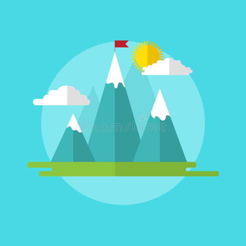 Leadership concept illustration landscape with red flag on the mountain peak. royalty free stock photos