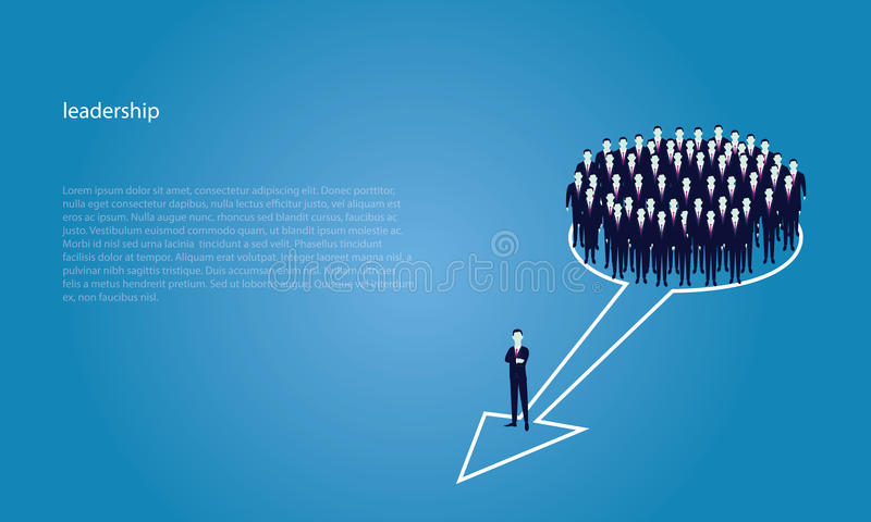 Leadership Concept. Manager Leading Team of Workers Going Forward. Vector illustration, business leadership concept, manager leading team group of business stock illustration