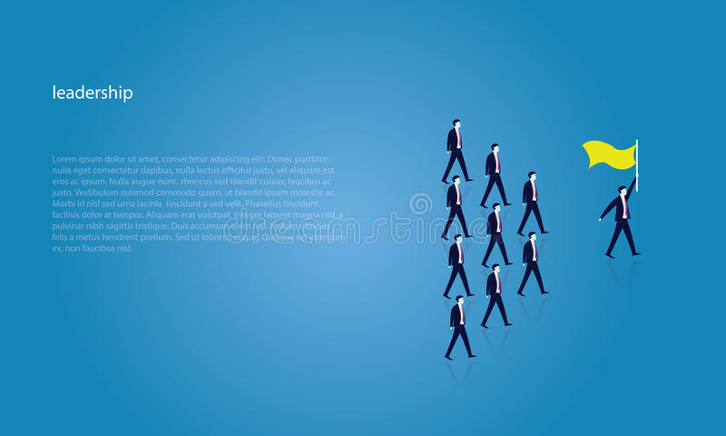 Leadership Concept. Manager Leading Team of Workers Going Forward. Vector illustration, business leadership concept, manager leading team group of business royalty free illustration