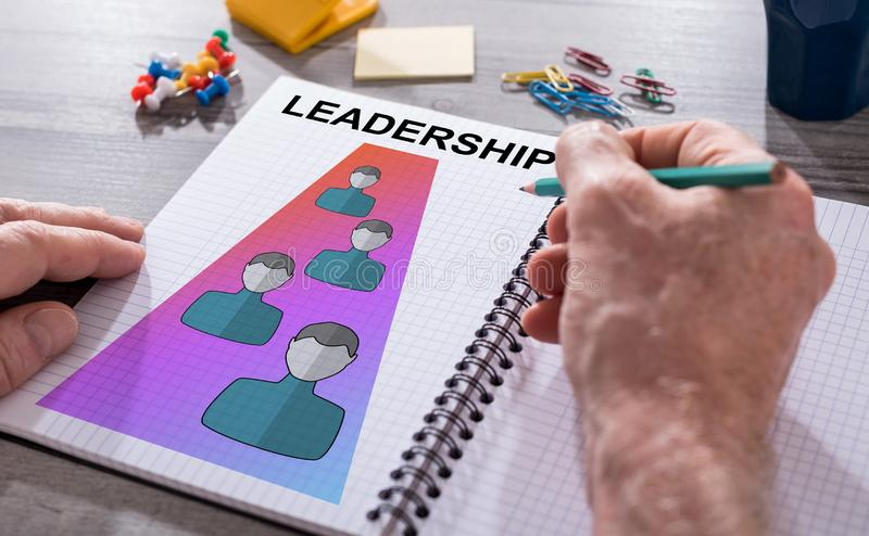 Leadership concept on a notepad royalty free stock photo