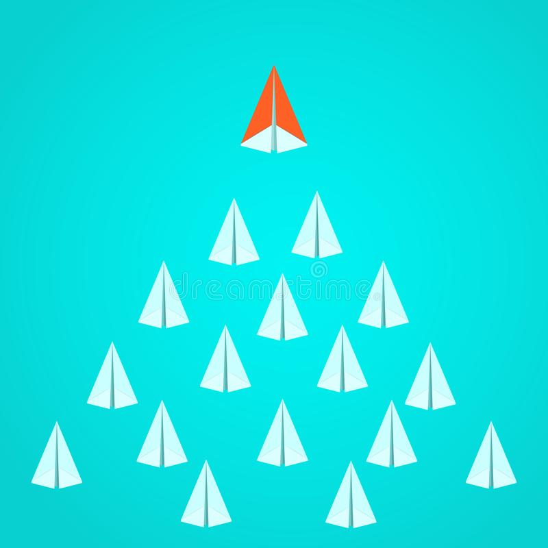 Leadership concept. Orange paper airplane leader standing out from the crowd. Business advantage opportunities and success concept. Vector Illustration vector illustration