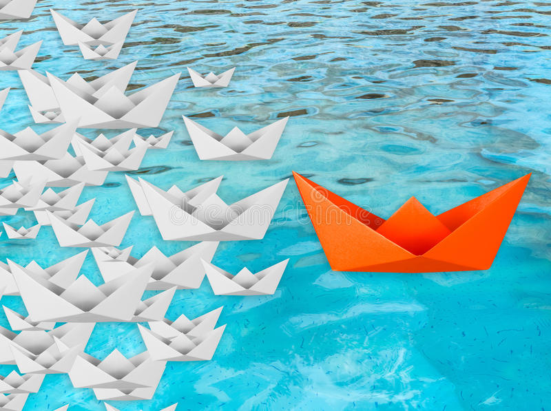 Leadership concept with paper boat vector illustration