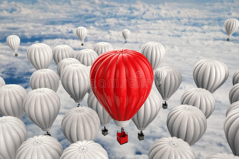 Leadership concept with red hot air balloon stock image