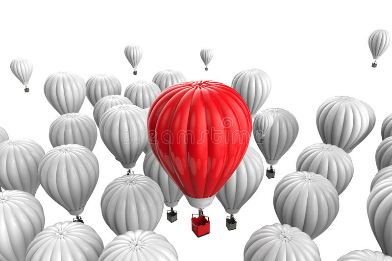 Leadership concept with red hot air balloon royalty free illustration
