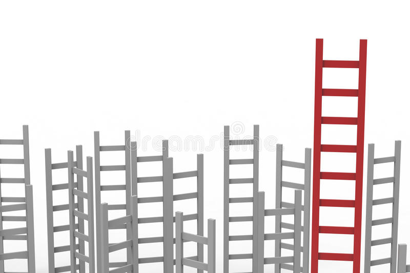 Leadership concept with red ladder stock illustration