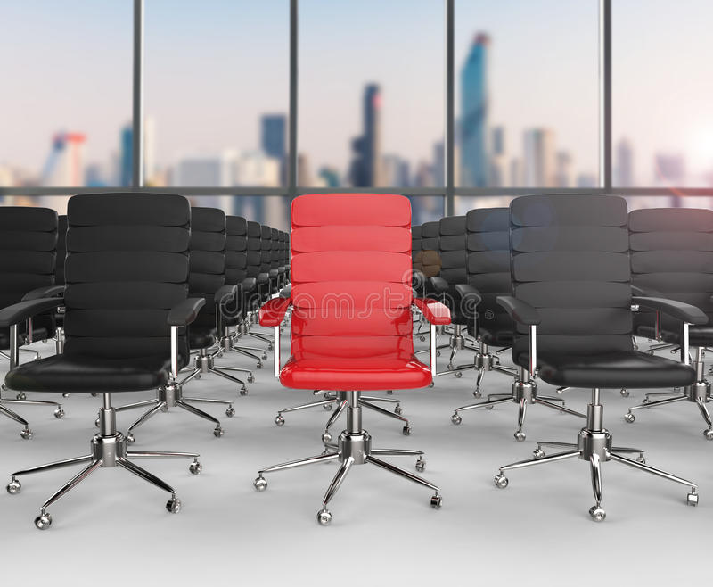 Leadership concept with red office chair stock illustration