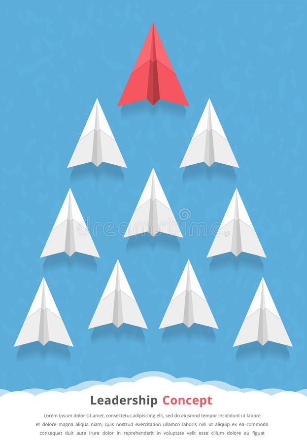 Leadership Concept. Red paper airplane as a leader among white airplanes, leadership, teamwork, motivation, stand out of the crowd concept stock illustration