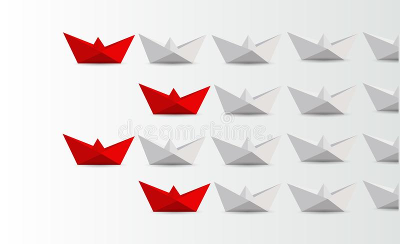 Leadership concept. red paper boats leading white. stock illustration