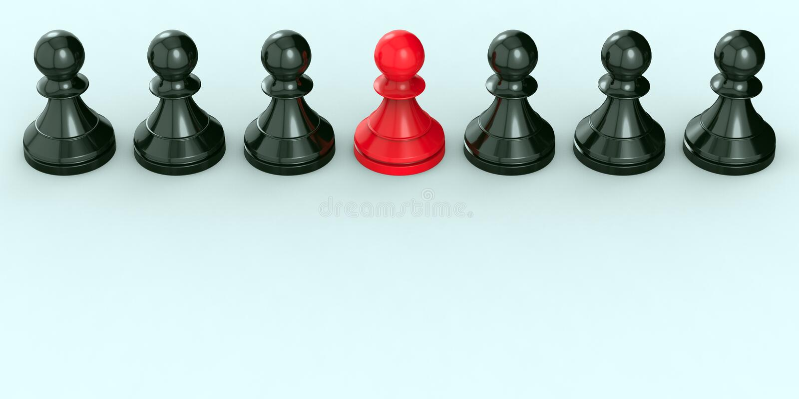 Leadership concept, red pawn of chess, standing out from the crowd of blacks. 3D Rendering stock photography