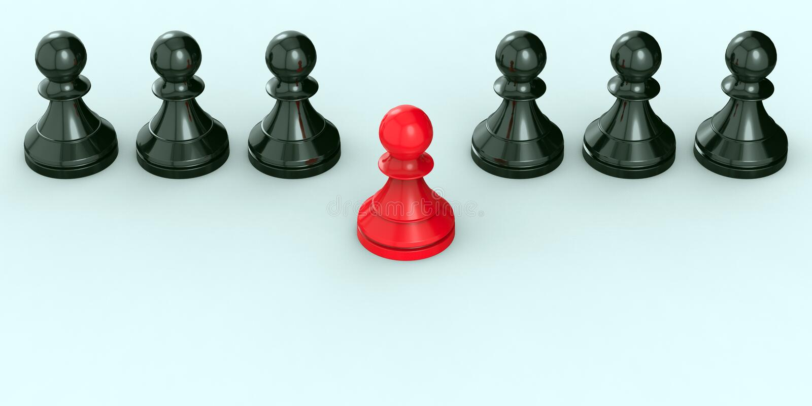 Leadership concept, red pawn of chess, standing out from the crowd of blacks. 3D Rendering royalty free stock photo