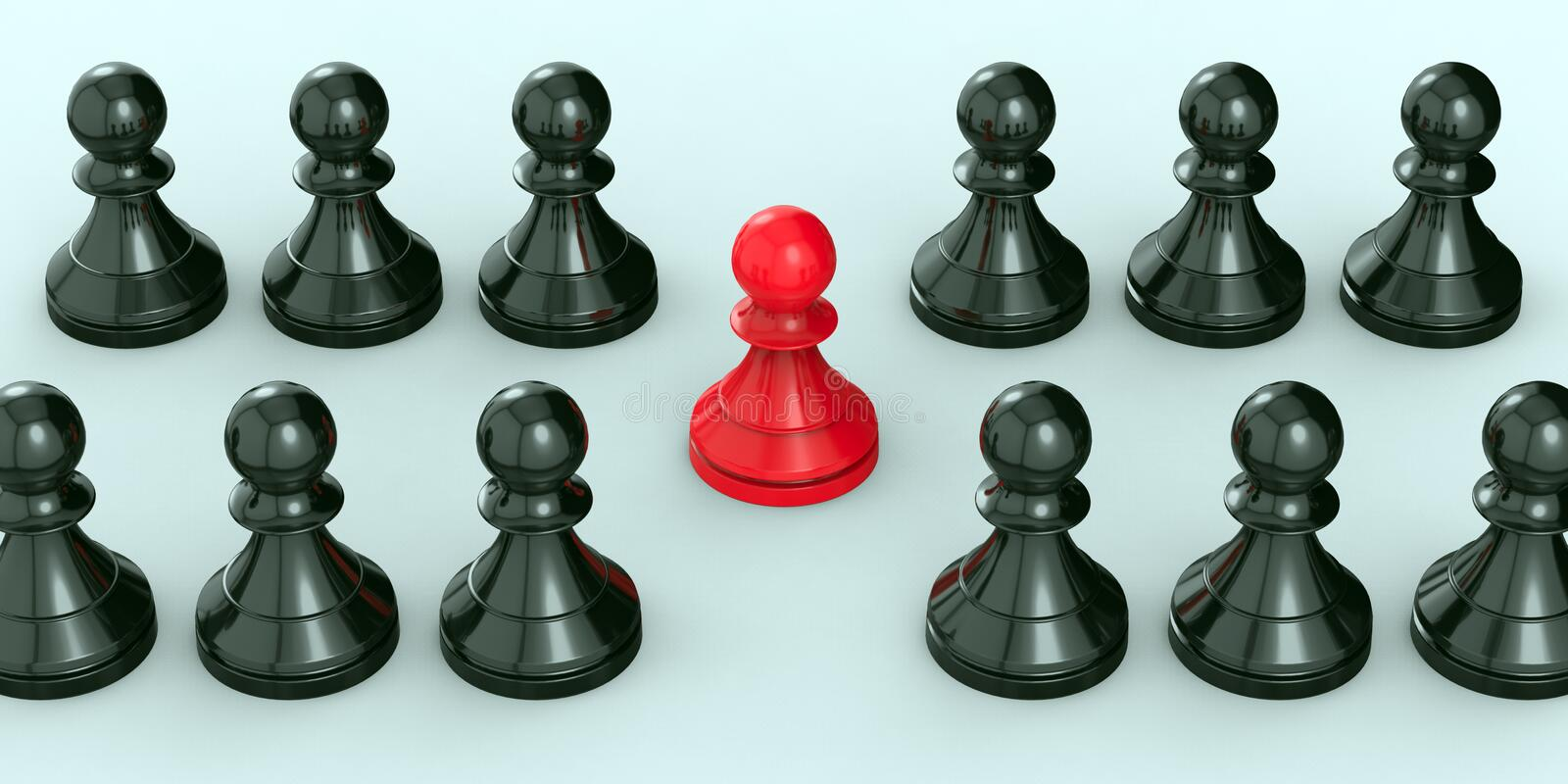 Leadership concept, red pawn of chess, standing out from the crowd of blacks. 3D Rendering royalty free stock image
