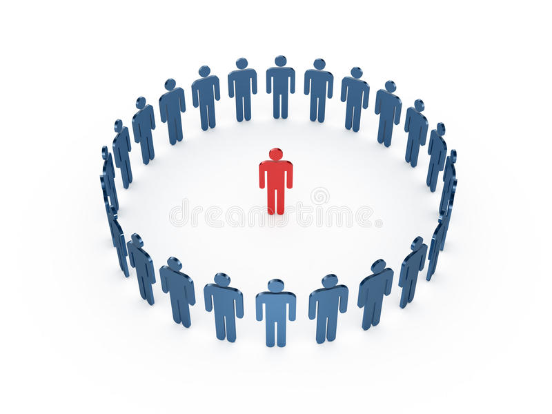 Leadership Concept. Red social man in the middle of blue men, isolated on white background stock illustration