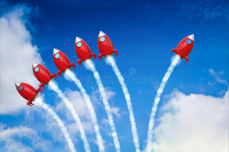 Leadership concept with red space shuttle launch. On blue sky background royalty free stock image