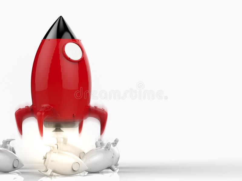 Leadership concept with rocket stock illustration