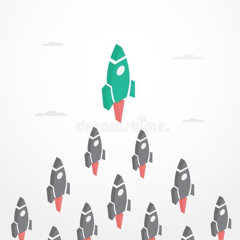 Leadership Concept with rockets in isometric style vector illustration