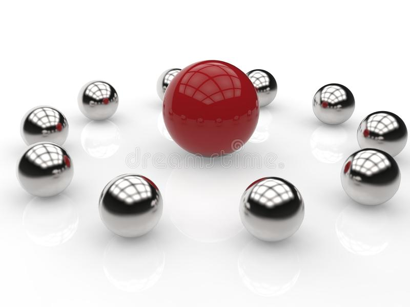 Leadership concept with spheres stock illustration