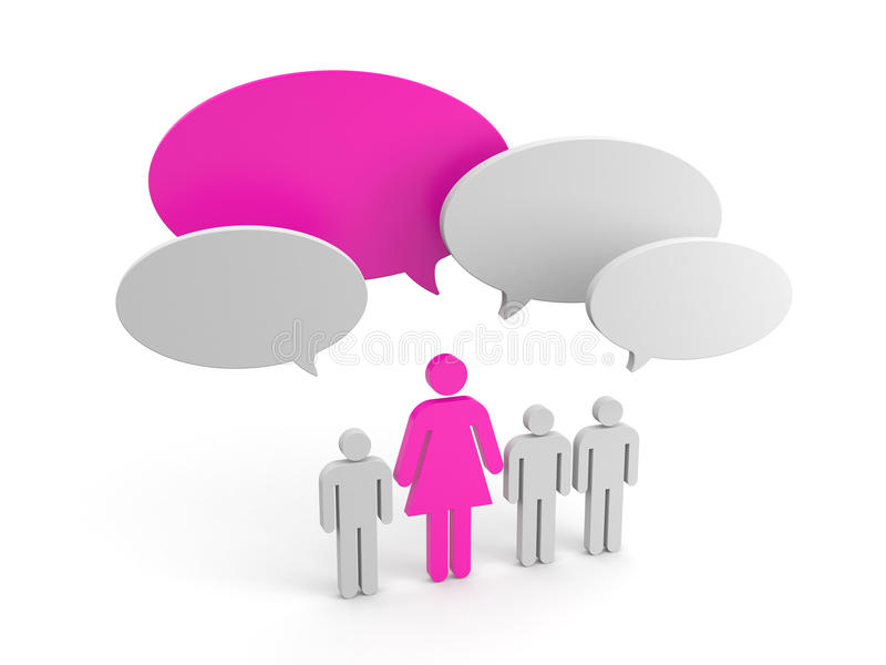 Leadership concept. Women pride. 3d illustration royalty free illustration