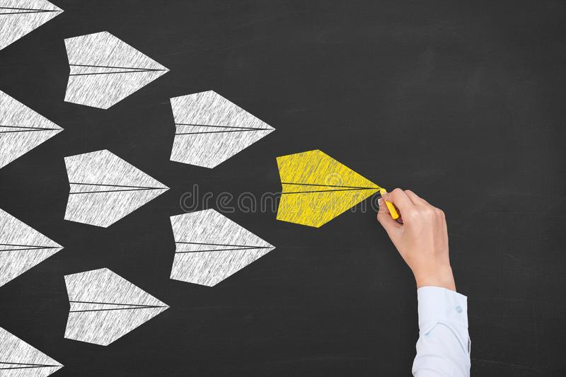 Leadership Concepts on Blackboard Background royalty free stock photo