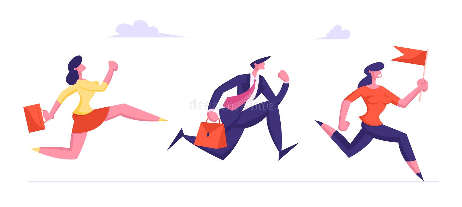 Leadership, Creative Idea Concept with Colleagues Follow Successful Leader. Business People Characters Running vector illustration