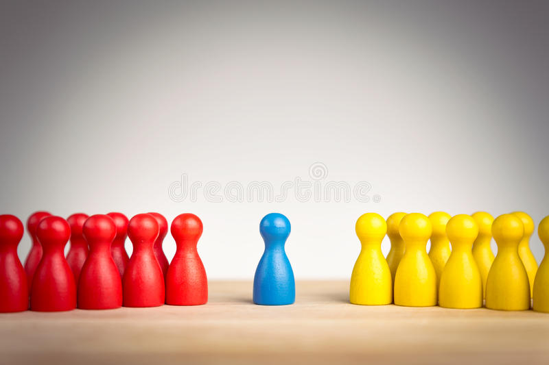 Leadership, diplomacy, unification and mediation concept. Between two different groups in conflict stock photos