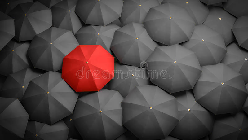 Leadership or distinction concept. Red umbrella and many black umbrellas around. 3D rendered illustration.  stock illustration