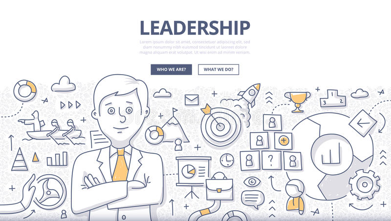 Leadership Doodle Concept. Doodle design style concept of leadership, career opportunities, business strategy vision, developing business mission. Modern line vector illustration
