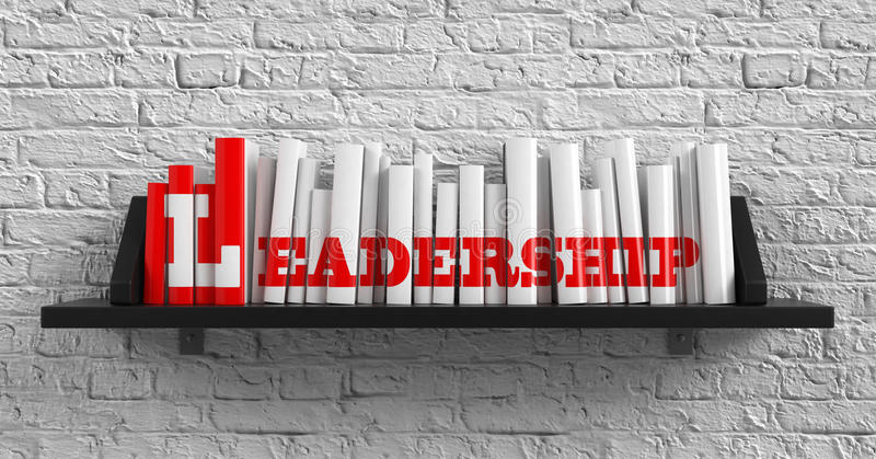 Leadership. Education Concept. Leadership - Red Inscription on the Books on Shelf on the White Brick Wall Background. Education Concept