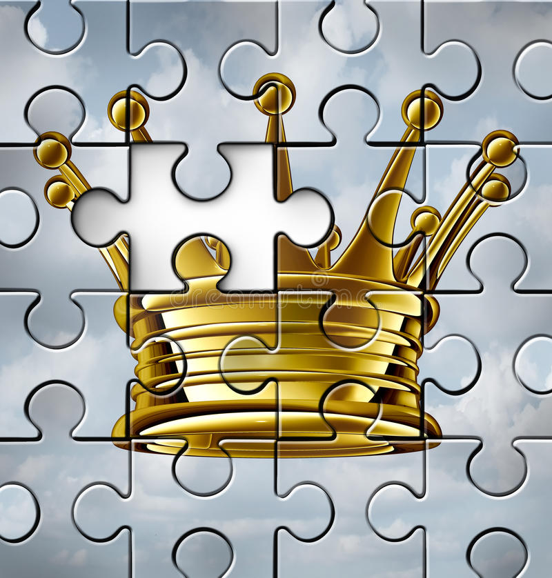 Leadership gap. Business concept or building leadership as an idea with a gold king crown on a jigsaw puzzle texture with one piece missing as a symbol of stock illustration