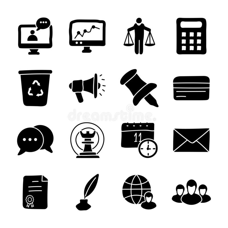 Leadership And Glyph Icons stock illustration