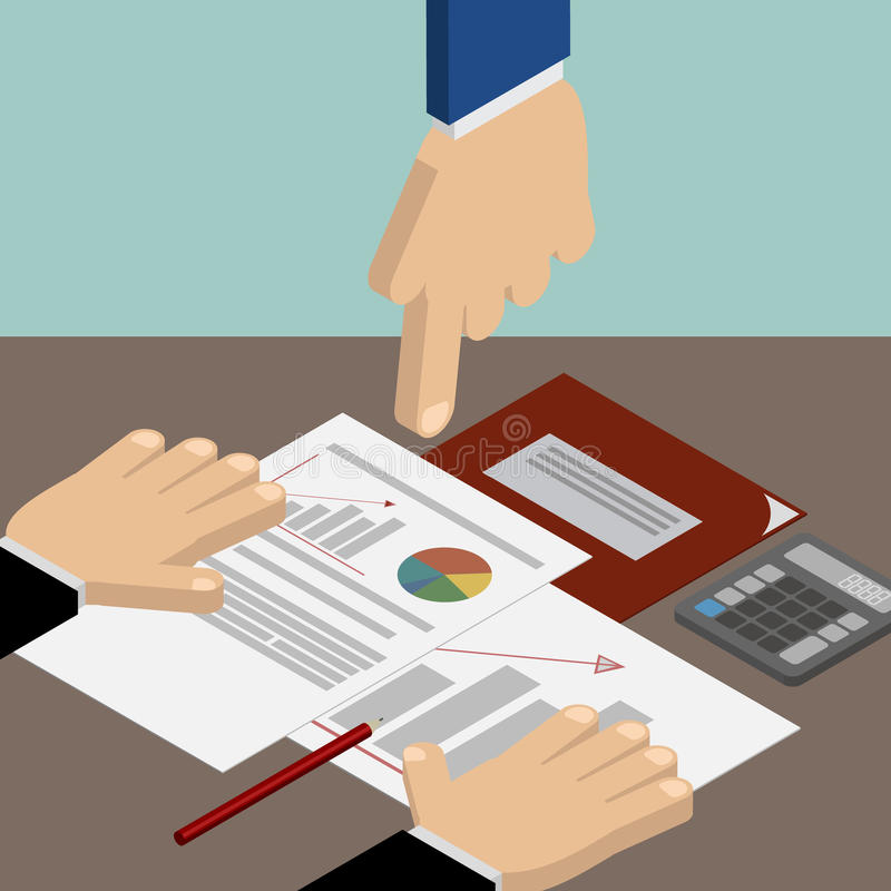 Leadership. Head Hand pointing at documents. iznes, accounting a royalty free illustration