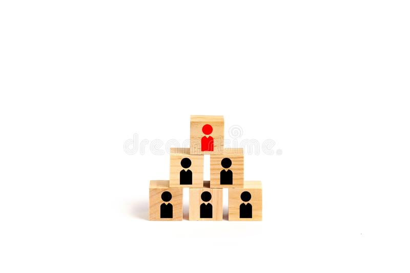 Leadership, HR and organization concepts. With wooden blocks and white background stock photography