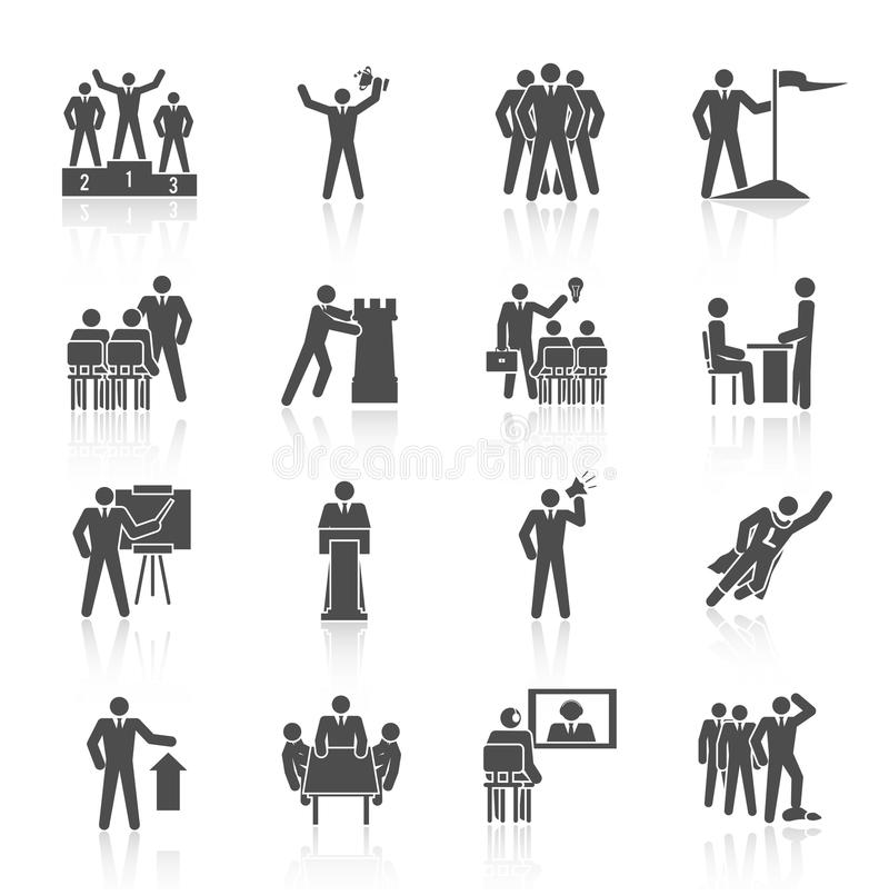 Leadership Icons Black vector illustration