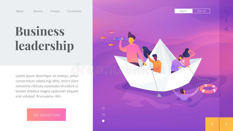 Leadership landing page template. Business leadership, managing skills, leadership training plan concept.Website interface UI template. Landing web page with vector illustration