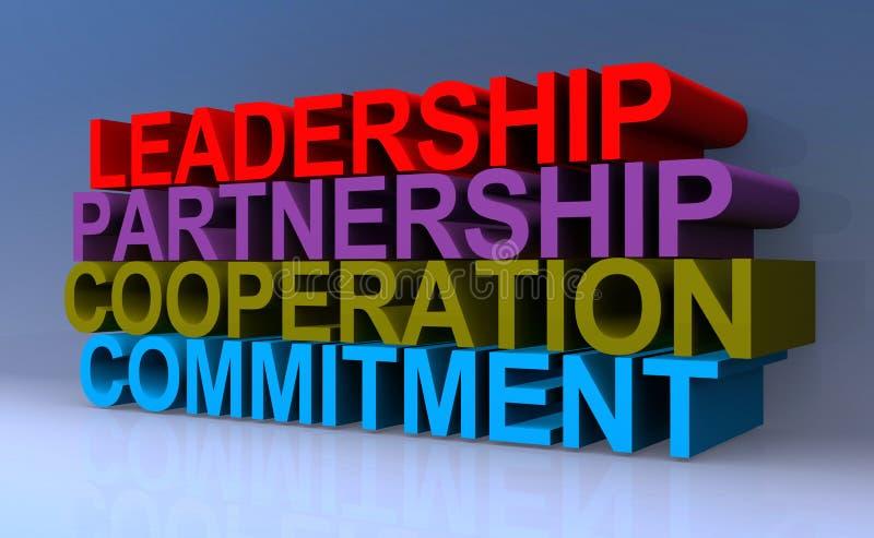 Leadership partnership cooperation commitment. Word on blue background stock illustration