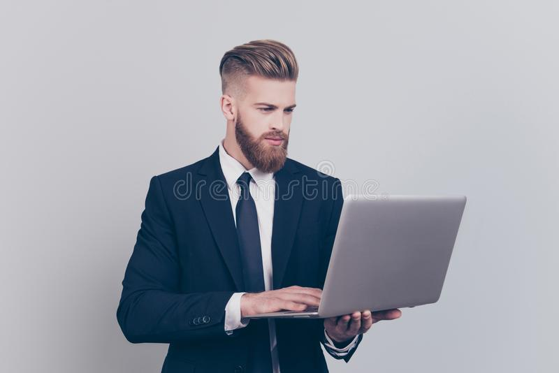 Leadership profession occupation remote people concept. Portrait. Of serious focused thinking pondering pensive planning learning financier lawyer using digital royalty free stock photo